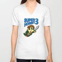 the hobbit V-neck T-shirts featuring Super Hobbit by TyrannosaurusRy