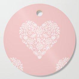 Millennial Pink Blush Rose Quartz Hearts Lace Flowers Pattern Cutting Board