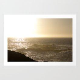 California Ocean at sunset Art Print