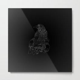 Raven: white on black Metal Print