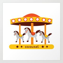 carousel amusement park Art Print