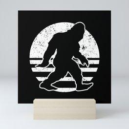 Retro Bigfoot Sasquatch Silhouette Cartoon Mini Art Print