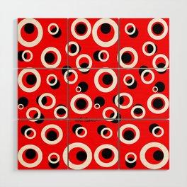 Red White Black Circles Wood Wall Art