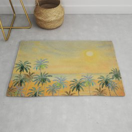 Dreamy Sunset - Tropical Watercolor with Palm Trees in Yellow and Orange Rug