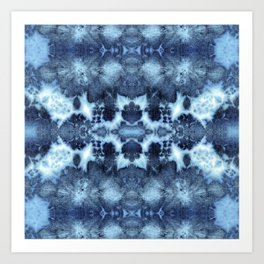Tie-Dye Damask Blue Art Print