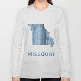 Missouri map outline Light steel blue nebulous watercolor Long Sleeve T-shirt