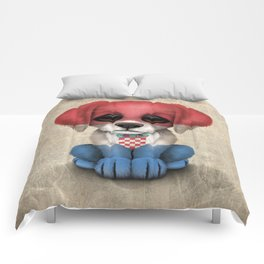 Cute Puppy Dog with flag of Croatia Comforters