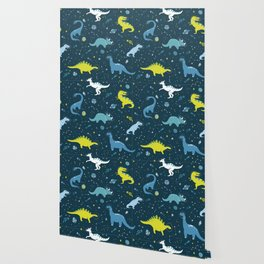 Space Dinosaurs in Bright Green and Blue Wallpaper