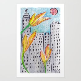 Childhood Series: Tulips in the City Art Print