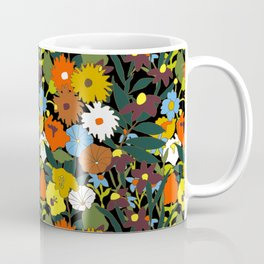 60's Swamp Floral in Midnight Black Coffee Mug