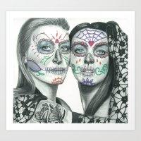 lindsay lohan Art Prints featuring Meryl Streep and Lindsay Lohan  by Jimmy Lee