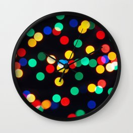 Bokeh Lights On a Black Background Wall Clock