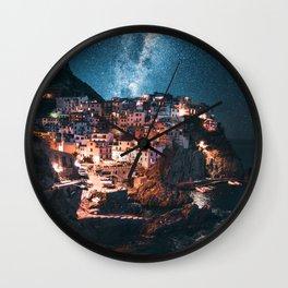 manarola at night Wall Clock