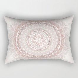 Cream Rose Floral Mandala Rectangular Pillow