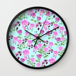 pink purple flowers watercolor painting Wall Clock