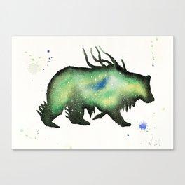 Green Nebula Bear Canvas Print