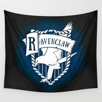ravenclaw Wall Tapestries featuring White Ravenclaw Crest by Sharayah Mitchell