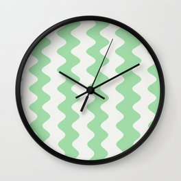 Pastel Mint Green & Linen White Wavy Vertical Rippled Stripe Pattern Pairs to 2020 Color of the Year Wall Clock