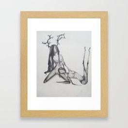 Deer love Framed Art Print