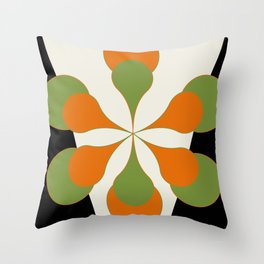Mid-Century Modern Art 1.4 - Green & Orange Flower Throw Pillow