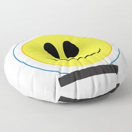 Spaceman Smile Face Button Isolated Floor Pillow
