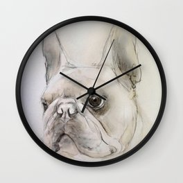 Frenchie portrait Wall Clock