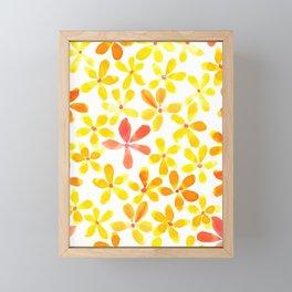 Retro Flowers - Yellow and Orange Framed Mini Art Print