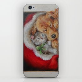 Christmas illustration Winter scene iPhone Skin