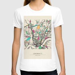Colorful City Maps: Cincinnati, Ohio T-shirt