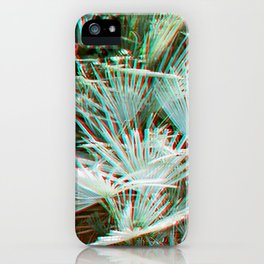 Glitch art / retro 3D style photography | Green, Turquoise, Cyan and pink tropical leaves iPhone Case