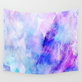 Hand painted blush pink teal blue watercolor brushstrokes Wall Tapestry