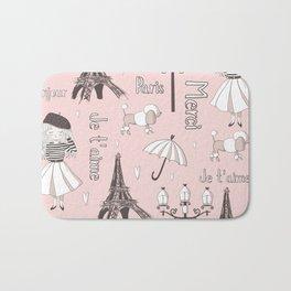 Paris Girl - Pink Bath Mat