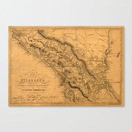 Map Of Nicaragua 1851 Canvas Print