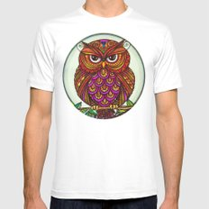 Wise Owl Stare MEDIUM Mens Fitted Tee White