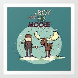 A Boy & His Moose Art Print