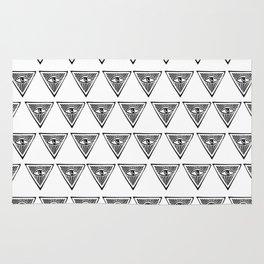 Linocut eye triangle pyramid symbol minimal black and white hipster Rug