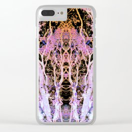 Neon Mirrored Trees Clear iPhone Case