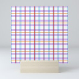 Gridlines of purple, blue and red on white Mini Art Print