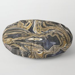 Black and Gold Liquid Marble Floor Pillow