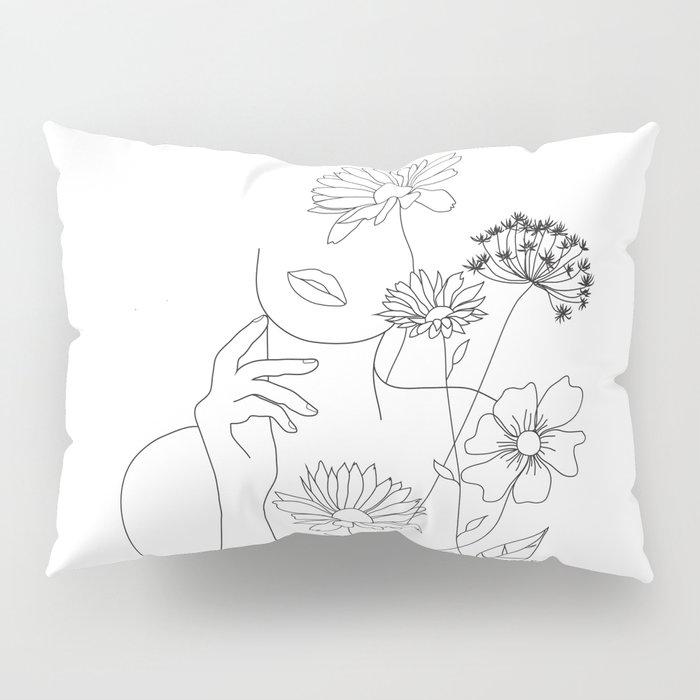 Minimal Line Art Woman with Flowers III Pillow Sham