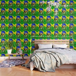 Toco Toucan with Brazil Flag Wallpaper