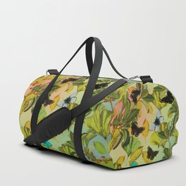 Vintage Ginkgo Leaves and Butterflies Duffle Bag