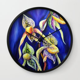 Orchid -  The Paphiopedilum , known as Lady's Slipper Wall Clock