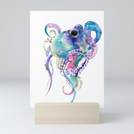 Tuquoise BLue Pink Purple Octopus Mini Art Print