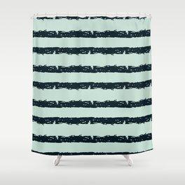 Texture Stripe Deep Blue and Light Cyan Shower Curtain