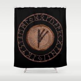 Fehu Elder Futhark rune Possessions, earned income, luck. Abundance, financial strength, hope Shower Curtain
