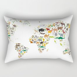 Cartoon animal world map for children and kids, Animals from all over the world on white background Rectangular Pillow