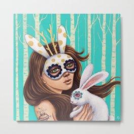 Jackalope and Bunny Metal Print