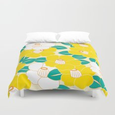 Japanese Style Camellia - Yellow and White Duvet Cover