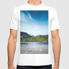 Lake Bohinj with Alps in Slovenia White MEDIUM Mens Fitted Tee